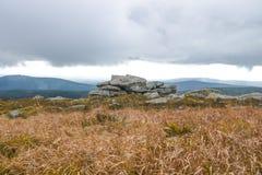 Hexenaltar在布罗肯峰,哈茨山顶部 库存图片