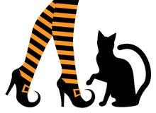 Hexenfüße in den Schuhen und in einer schwarzen Katze Stockbild