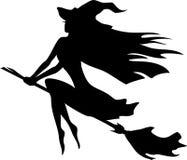 Hexenfliegen auf einem Besenstiel Stockbild