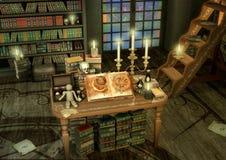 Hexereialtar mit Kerzen, Büchern und Wodupuppe Stockbilder