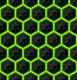 Hexágonos da pedra preta com as raias quentes verdes da energia Textura sem emenda do vetor Teste padrão sem emenda da tecnologia Imagem de Stock