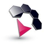 Hexágonos y flecha de la insignia 3d Foto de archivo