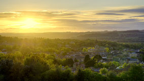 Hexham Panorama. Panorama showing sunset over the historic town of Hexham, in Northumberland, England. The Abbey, Moot Hall and Border History Museum are all in royalty free stock photos