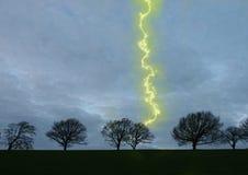 Hexhamshire Lightning. Digitally enhanced lightning along a horizon of bare trees Stock Photo