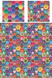 Hexogon colorful christmas day seamless pattern Royalty Free Stock Photo