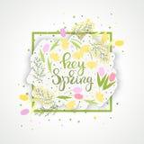 Hey вектор знамени бумаги цветка весны иллюстрация штока
