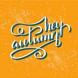 Hey autumn. Vector hand-painted poster. Modern calligraphy in vintage style. Hey autumn lettering in vector. Season greeting card Royalty Free Stock Photography