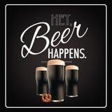 Hey beer happens blackboard design Royalty Free Stock Photo