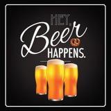 Hey beer happens blackboard design 2 Stock Images
