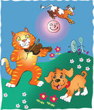 Hey Diddle Diddle the cat and the fiddle. Decorative cartoon illustration of a Cat and fiddle, little dog laughing, dish and spoon, and cow jumping over the moon Stock Images