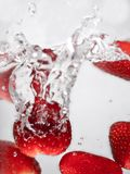 Hey fresh and cool fruites jumping in cold water. royalty free stock images