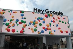 Hey Google pavillion at CES 2019 stock images