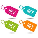 Hey label. Flat Eps10 Vector Illustration. Different colour button set Stock Photography
