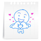 Hey Love you cartoon_on paper Note. Hand draw hey Love you cartoon_on paper Note Royalty Free Stock Images