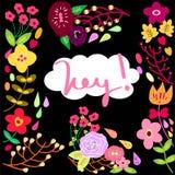 Hey preto ajustado flor ilustração royalty free