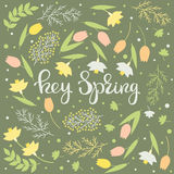 Hey spring - floral card vector royalty free illustration