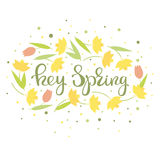 Hey spring - floral card vector Stock Photography