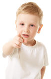 Hey you!. Little boy pointing at you Royalty Free Stock Photo