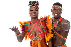 Hey you come dance with us!. Half length of samba dancer pointing to camera Stock Photo