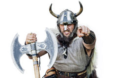 Hey You! Portrait of the furious strong angry viking Stock Photography