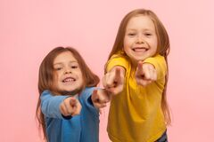 Free Hey You! Two Charming Happy Little Girls Pointing To Camera, Indicating Lucky One And Smiling Royalty Free Stock Photo - 173492365