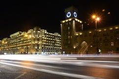 Heydar Aliyev Avenue in the evening.Baku,Azerbaijan stock photography