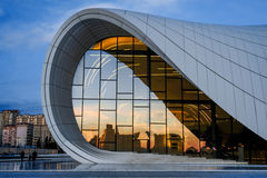 Heydar Aliyev Center fragment. Fragment of Zaha Hadid's modern building of Heydar Aliyev Center in Narimanov district of Baku in Azerbaijan Stock Image
