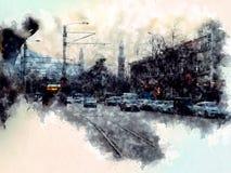 Heykel di Bursa, tacchino, acquerello royalty illustrazione gratis