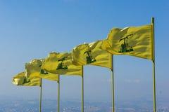 Hezbollah flags in Lebanon. Hezbollah flags flying in southern Lebanon Stock Photos