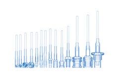 HF-Seilzugverbinder (Blau des Röntgenstrahls 3D auf w Stockbilder