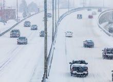 Häftig snöstorm på vägen Arkivbild