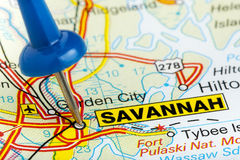 Häftstift Savannah Georgia Map Closeup Fotografering för Bildbyråer