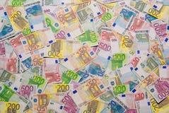 Hög av eurosedlar Arkivbild