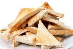 Hög av klippt vitt rostat bröd Royaltyfri Bild