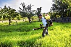 Hög bonde som besprutar fruktträdgården Royaltyfri Foto
