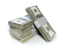 Hög för dollarräkningpackar Arkivfoton