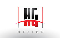 HG H G Logo Letters with Red and Black Colors and Swoosh. Stock Image