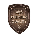 Hög högvärdig kvalitets- wood etiketthandattraktion Arkivfoto