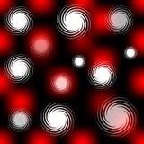 Hög kontrastera sömlös bakgrund med röda suddighetsfläckar och vit virvlar runt på svart område Fotografering för Bildbyråer