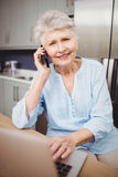 Hög kvinna som talar på telefonen och använder bärbara datorn Arkivbild