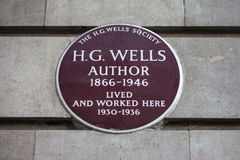 HG Wells Plaque in London Royalty Free Stock Photography