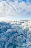 Hög av brutna isfloes på havet Arkivbilder