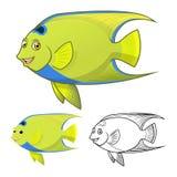 Högkvalitativ lägenhetdesign och linje Art Version för drottning Angel Fish Cartoon Character Include Royaltyfri Foto