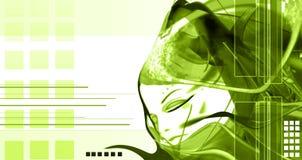 högt abstrakt begrepp - techkvinna Arkivfoto