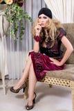 högt blont mode Arkivbild