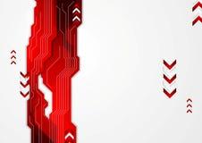 Högteknologisk röd abstrakt bakgrund med pilar Royaltyfria Bilder