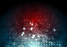 Högteknologisk röd blå bakgrund för Grunge Fotografering för Bildbyråer