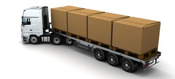 HGV Truck Shipping Cardboard Boxes Stock Images