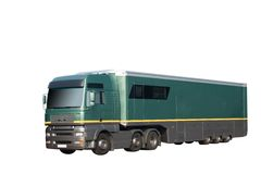 HGV truck and trailer. Green HGV truck and trailer isolated on a white background Stock Image