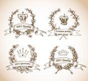 Högvärdig kvalitet skissar etiketter Royaltyfri Fotografi